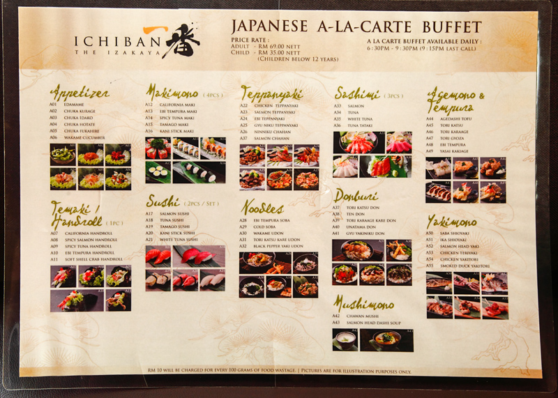 Ichiban the Izakaya A La Carte Buffet Menu