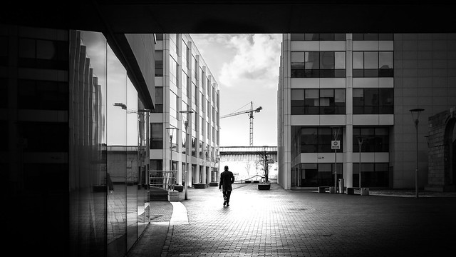 Walking alone - Dublin, Ireland - Black and white street photography