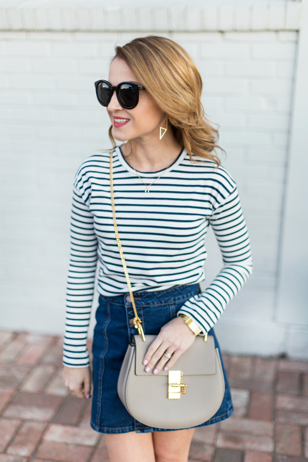 Stripes + Button-Up Denim Skirt