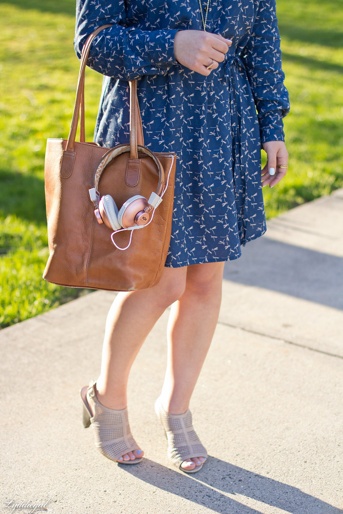 dragonfly dress, brown tote, mules, marley headphones-7.jpg