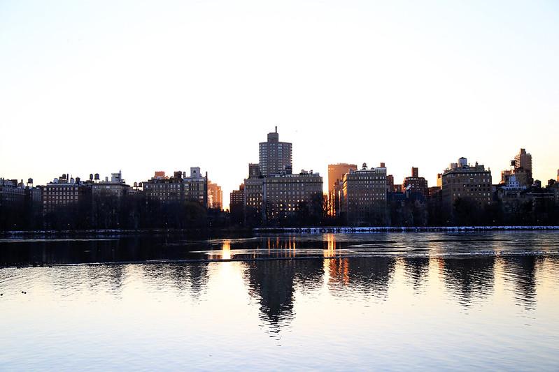 sunrise between building central park