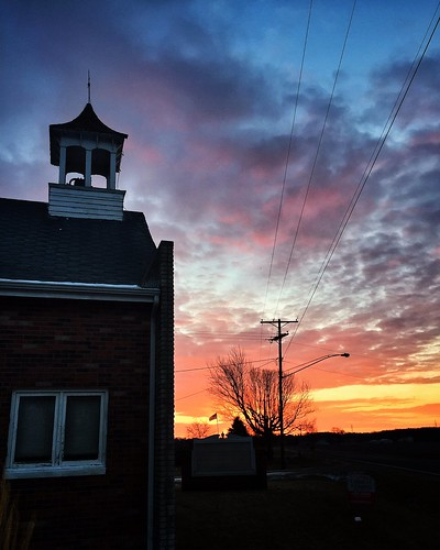 morning travel winter light red orange apple church clouds sunrise early michigan steeple baroda iphone iphoneography