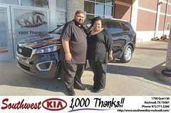 Congratulations Jeremiah on your #Kia #Sorento from Mauricio Pena at Southwest KIA Rockwall!