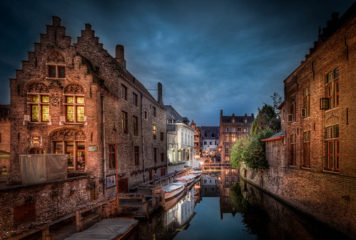 caughtinpixels night building medieval oldbuilding reflections time brugge realismdigitalart clouds hdr canal warmlight jacobsurland colors lamps geometry bruges water city citybynight lights bluehour lamp fineart lines belgium blue country architecture highdynamicrange cityscape brügge light vlaanderen belgien be art fineartphotography