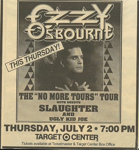 07/02/92 Ozzy Osbourne/ Slaughter/ Ugly Kid Joe @ Targetr Center, Minneapolis, MN