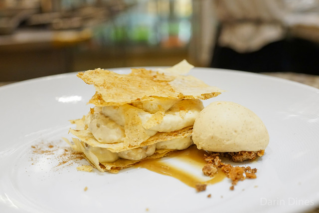 BANANA NAPOLEON walnut filo, brown butter toffee sauce & caramelized banana gelato