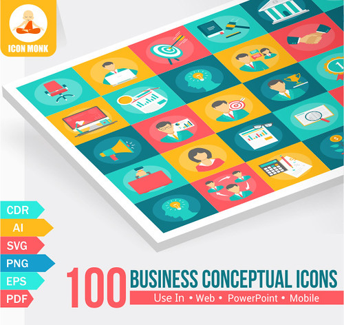 100 Business conceptual Icons