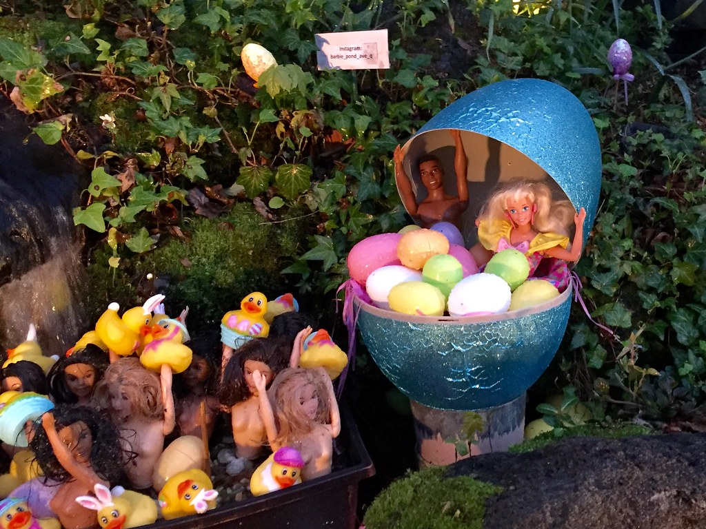 an Easter theme at the Barbie Pond Garden