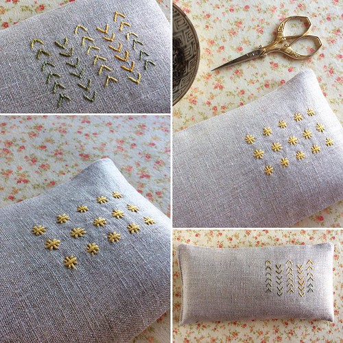 New eye pillows! Which is your favorite? Freshly listed in my Etsy shop (link in profile) #bonniesennott #etsy #lavender #embroidery #stitching #yoga