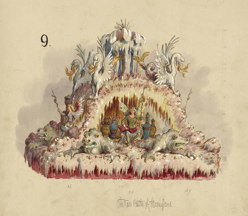 Carlotta Bonnecaze - The Turi Castle of Honeyland, float design from Krewe of Proteus, 1893
