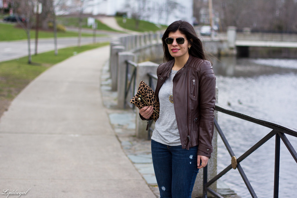 grey tee, brown leather jacket, leopard clutch-4.jpg