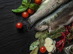 Fresh fish with spices, basil and cherry tomatoes