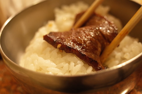 grilled BBQ beef on the rice