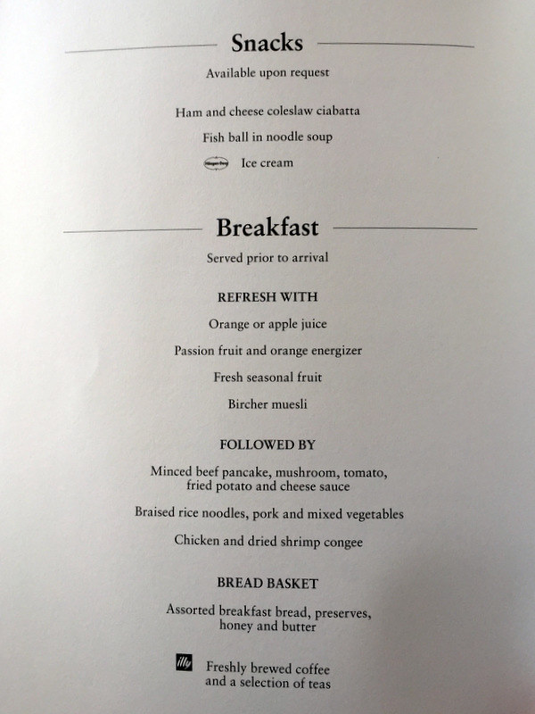 CX 748 JNB to HKG Breakfast Menu