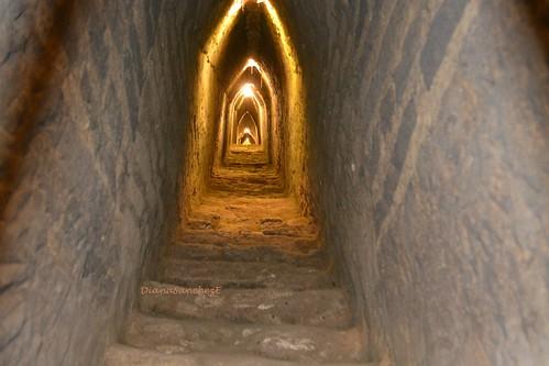 Vista del interior del basamento de la piramide. Cholula Puebla