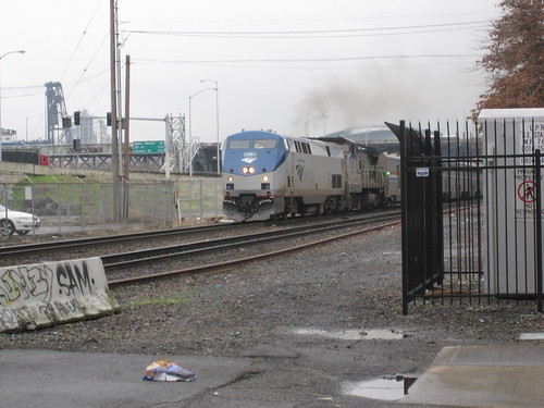 A southbound Coast Starlight approaches Stark Street