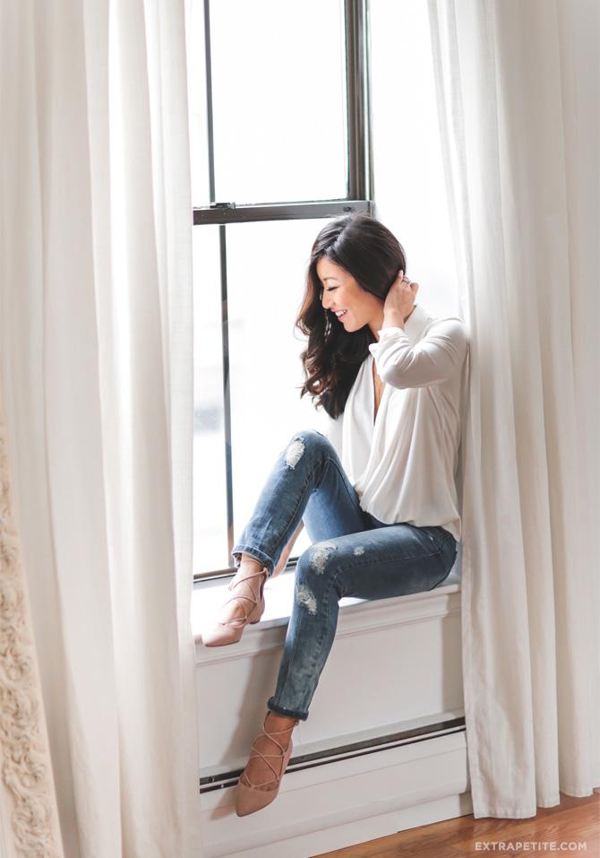 classic white drape wrap blouse boyfriend jeans