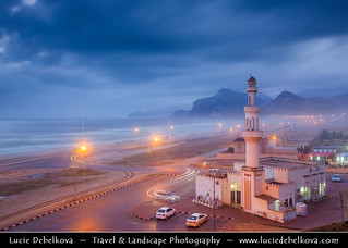 Oman - Salalah - Al-Mughsayl Beach - Al Maghseel - Mughsail - Maghsail - Scenic coastal location along Indian Ocean with Lonely Mosque at Dusk - Twilight - Night