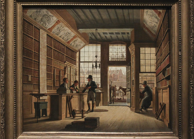 The Shop of the Bookdealer Pieter Meijer Warnars on the Vijgendam in Amsterdam, Johannes Jelgerhuis, 1820