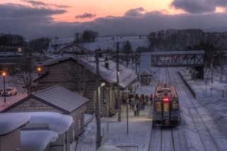 A Train at Biei Station in evening on FEB 11, 2016 (4)