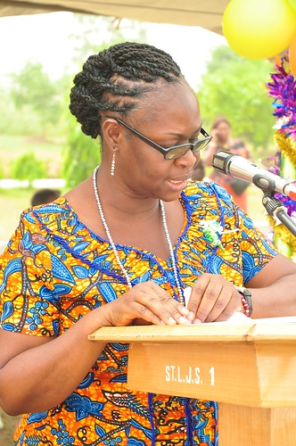 The Head Mistress, Augustina Kwakye SSL, giving a speech at the St Louis Jubilee School annual Family Day