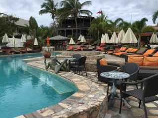 Relax poolside or take in the botanical views at Palm Court Gardens on St Kitts