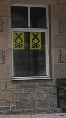 SNP campaign posters in Aviemore, 2016 Scottish Parliament Elections