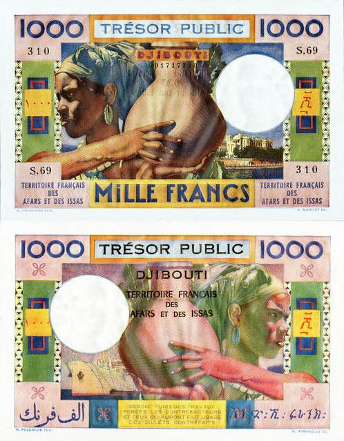 1000 Frankov French Affairs & Issas 1974 P32, REPLIKA
