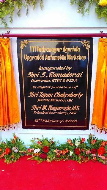 1 ITI Agartala Inauguration Plaque, Inaugurated by Mr. S. Ramadorai, Chairman NSDA and NSDC