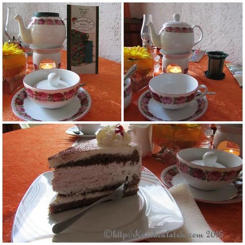 Finnische Preiselbeertorte mit Tee Collage