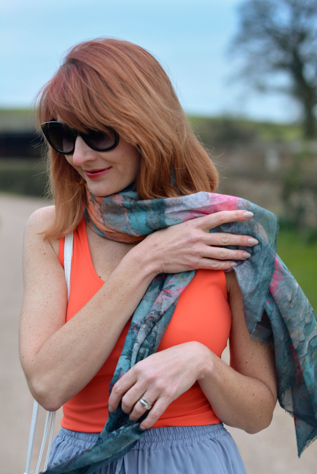 Spring Style: Loose silk pants, orange tank, neck scarf | Not Dressed As Lamb