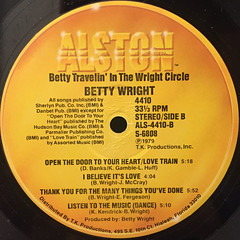 BETTY WRIGHT:TRAVELIN' IN THE CIRCLE(LABEL SIDE-B)