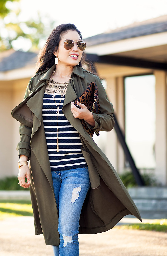 cute & little blog | petite fashion | drapey olive duster trench, striped lace top, ymijeans distressed jeans, leopard pumps, oversized ray ban aviators, leopard clutch | spring outfit