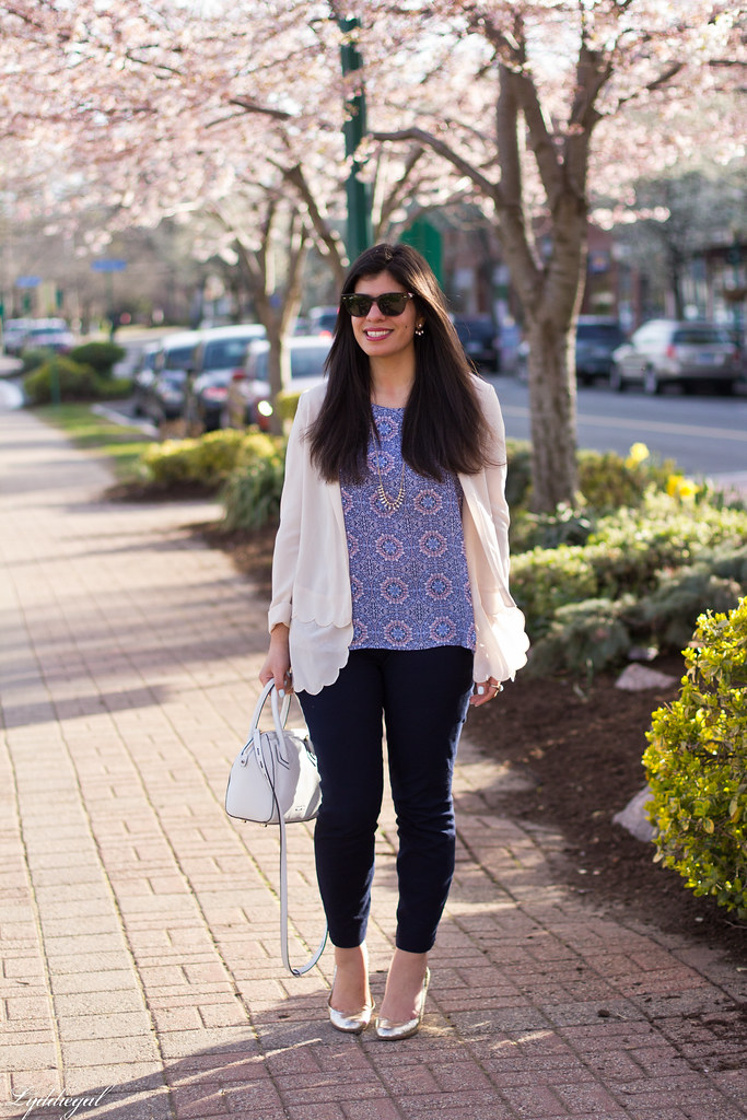 scalloped blazer, printed tank, navy pants, dog-1.jpg