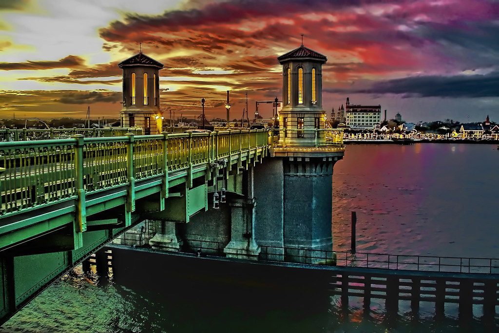 The Bridge of Lions in downtown St. Augustine, Florida, U.S.A.