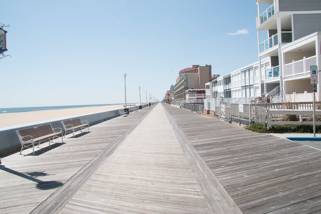 Empty Boardwalk in Ocean City in the Spring