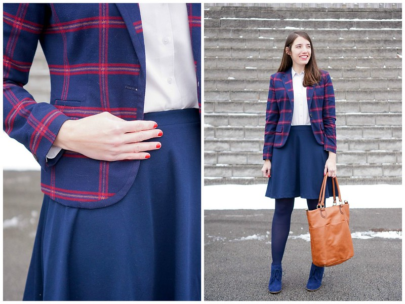 plaid blazer + navy skirt + Uniqlo rayon blouse + cognac tote; Style On Target blog