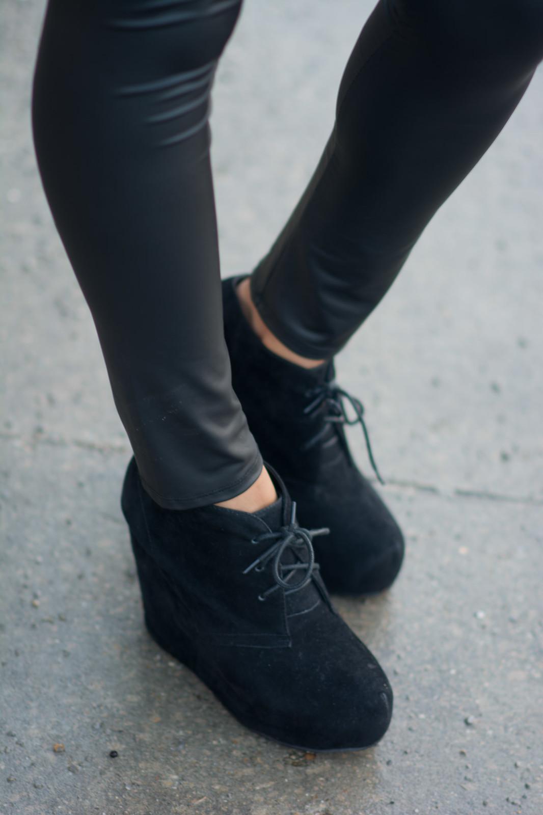 black suede wedge booties street style blogger