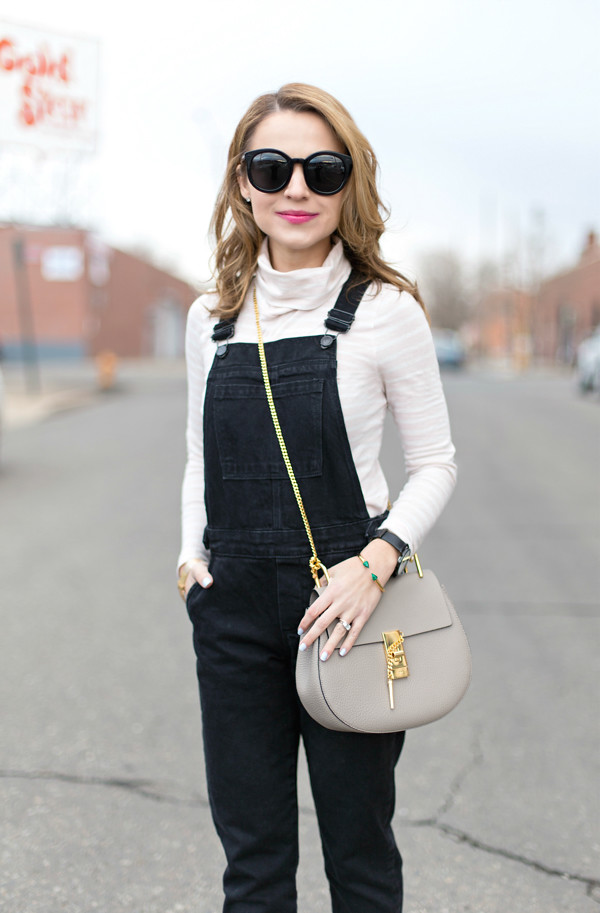 JCrew Turtleneck + Overalls