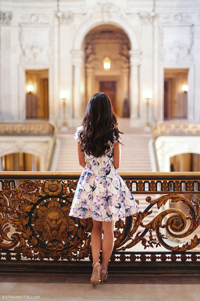 romantic floral dress valentino rockstud heels_san francisco city hall