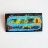 Vintage Mid-Century Modern Enamel on Copper Brooch - Abstract Yellow, Orange and Blue