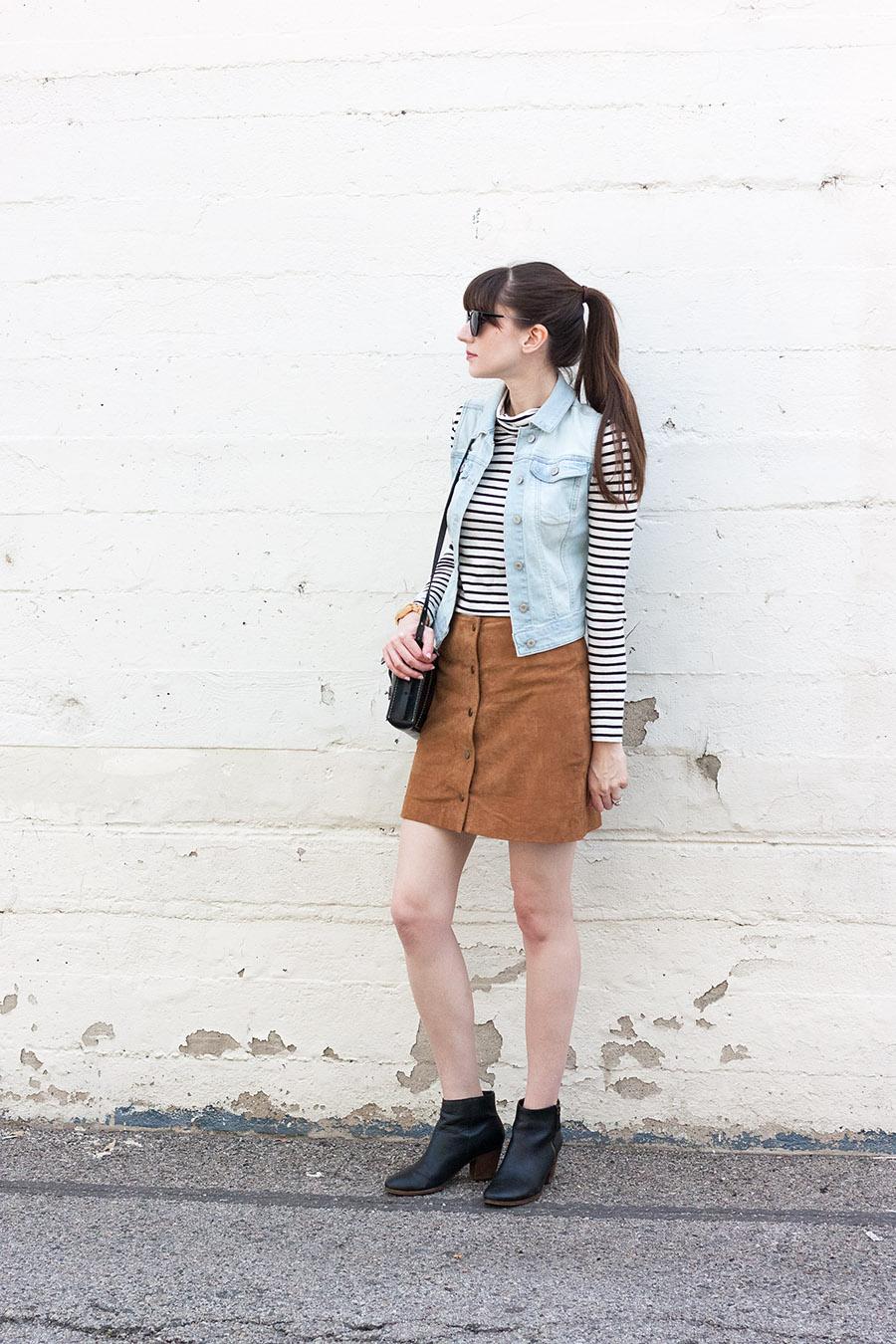 Suede Skirt, Striped Shirt