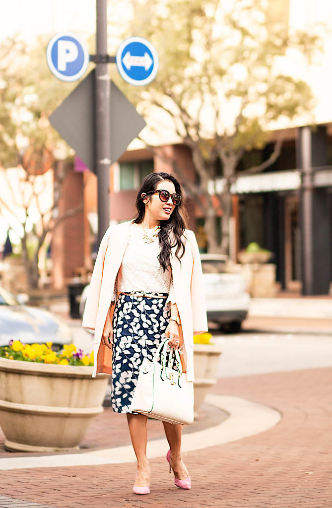cute & little blog | petite fashion | pink jacket, lace crochet top, navy floral midi skirt, pink suede pumps, pearl cluster necklace | spring outfit