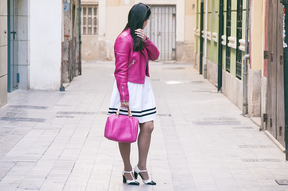 valencia fashion blogger amanda ramon somethingfashion, coach biker jacket hot pink spring, outfit inspiration h&m skater dress beauty makeup, bloggera de moda españa spain moda streetstyle, carolina herrera andy bag CH