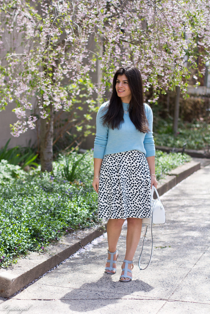 blue sweater, polka dot skirt, blue sandals.jpg