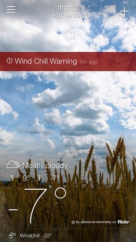Wind chill warning