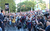 Panorama of crowd at State Library - Sanctuary rally #LetThemStay Melbourne