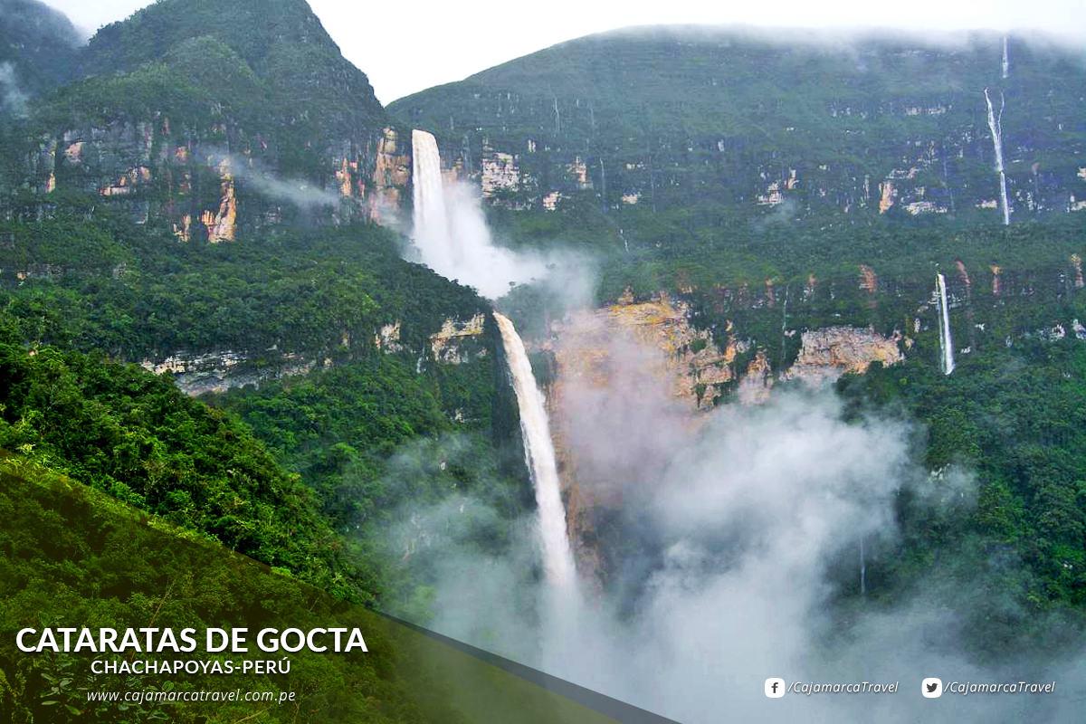 La Catarata Gocta, conocida localmente como La Chorrera, es un salto de agua que mide 771 metros y es considerada como la tercera cascada más alta del mundo.