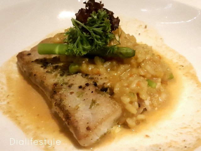 Pan Fried Betki with Asparagus and Lobster Bisque Risotto