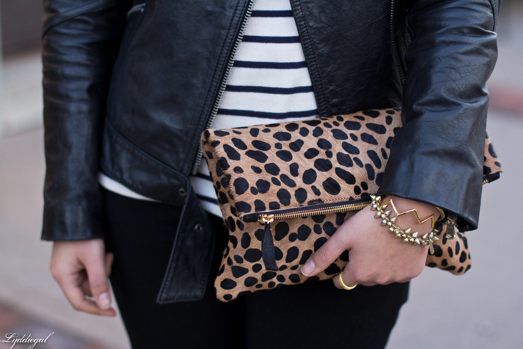 striped tee, black leather jacket, leopard clutch-5.jpg
